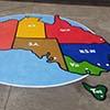 Map of Australia blue circle