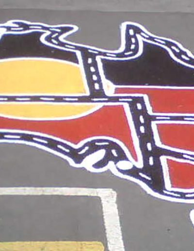 The Car Track of Australia with the yellow sun is an indigenous inspired use of the map of Australia which can be used by the children to drive cars around or teachers to use in geography based lessons