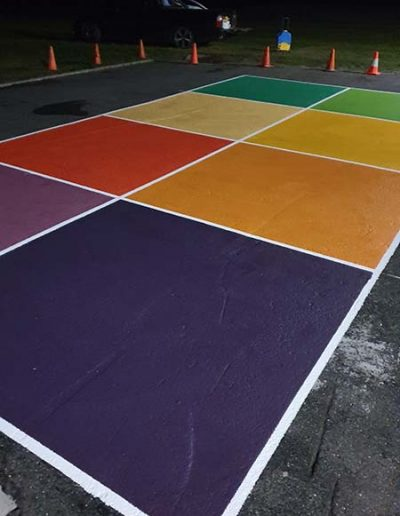 Coloured Eight Square court markings
