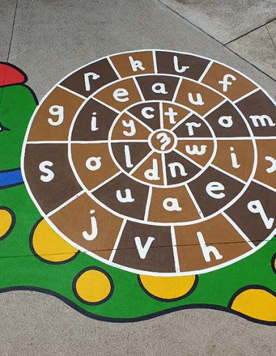 The Spelling Snail has the alphabet jumbled all over the shell. It includes two sets of vowels to make it easier to jump when spelling words.
